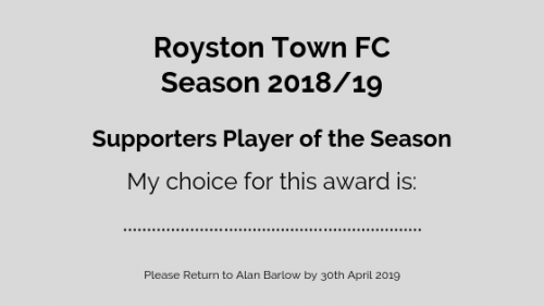Supporters Player of the Season voting slip